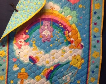 SALE******Care Bears - baby quilt/wall hanging