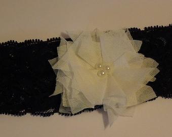 Wedding Garter - Navy Blue Stretch Lace
