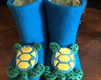 Child's Hand Embroidered Sea Turtle Slippers/ House Shoes/Reclaimed/Up Cycled/Repurposed wool