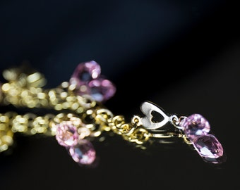 Charms bracelet with pink Swarovski crystals and heart charms