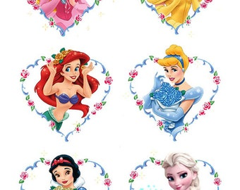 6 Disney Princess Heart cake topper edible wafer paper image wf