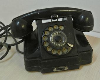 Soviet Army Phone, Soviet Vintage Bakelite Rotary Phone, Vintage Rotary Phone 1950's, Old Phone, Antique Dial Phone, Steampunk,