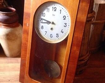 Vintage Soviet Pendulum Clock, Old Wall Clock, Shabby Chic, Boho Home, Midcentury