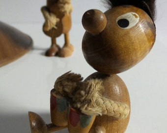 musicians wooden collectables 1960s x 2