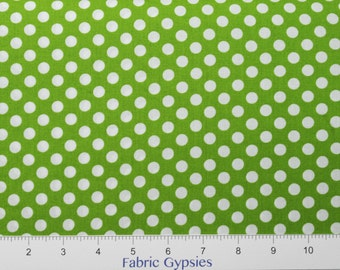 Robert Kaufman Spot On ~ EZC12872-50 Lime ~ White Dots on Lime Green ~ By The Half Yard ~