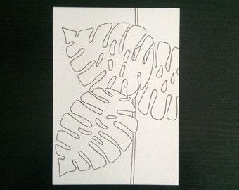 Monstera Straight // Minimalist Line Drawing Illustration