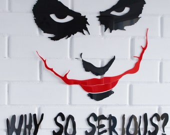 "Joker ""Why so serious?"" Batman The Dark Knight 3D wall sticker decal home decor interior sticker DC Comics black red acryl unique present"