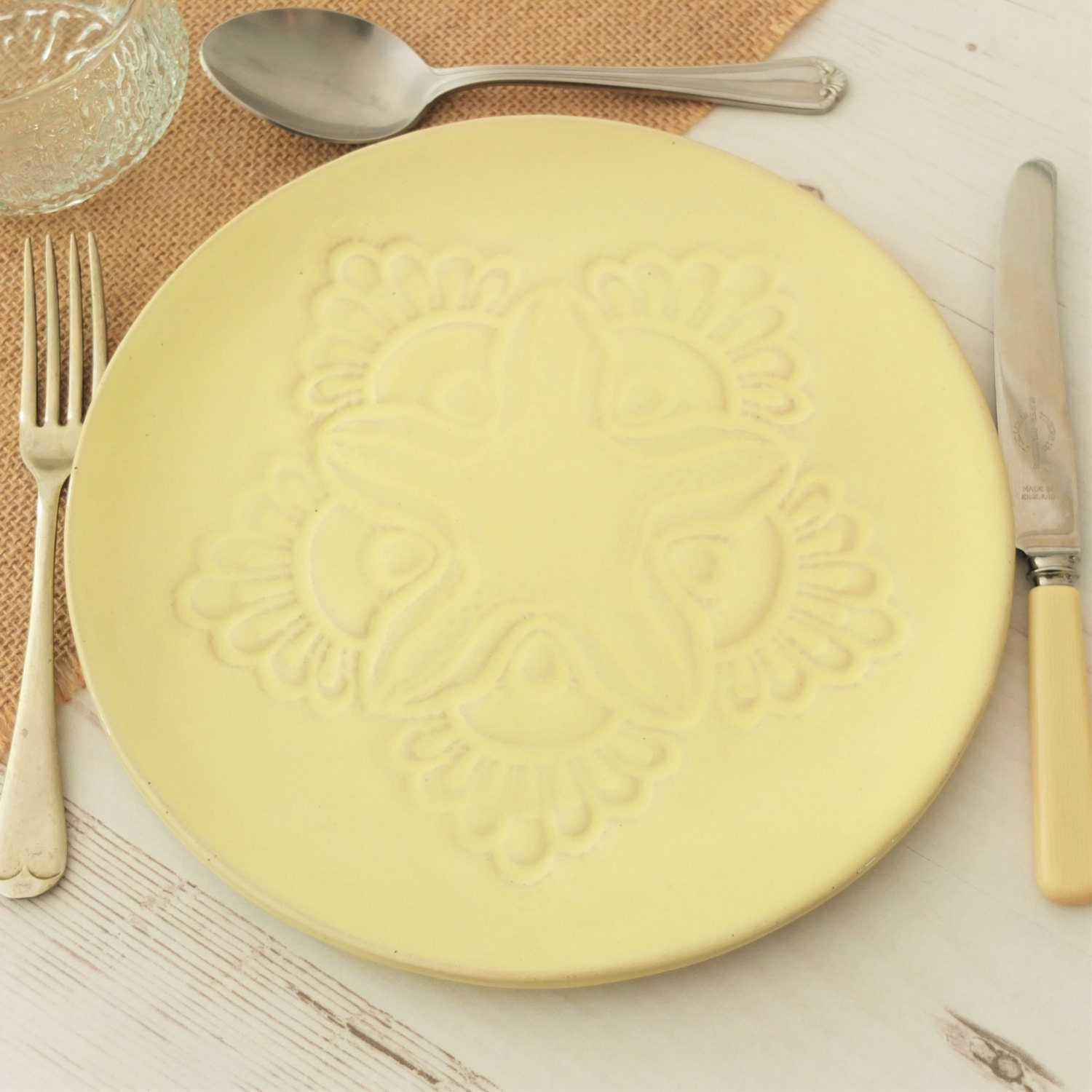 handmade ceramic dinner plate vintage lace yellow plate