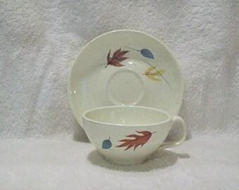 Vintage Franciscan Autumn Leaf Pattern Cup and Saucer Gladding McBean & Co. 1955-1966