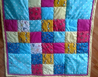 Baby quilt blanket, patchwork cover, patchwork quilt, handmade