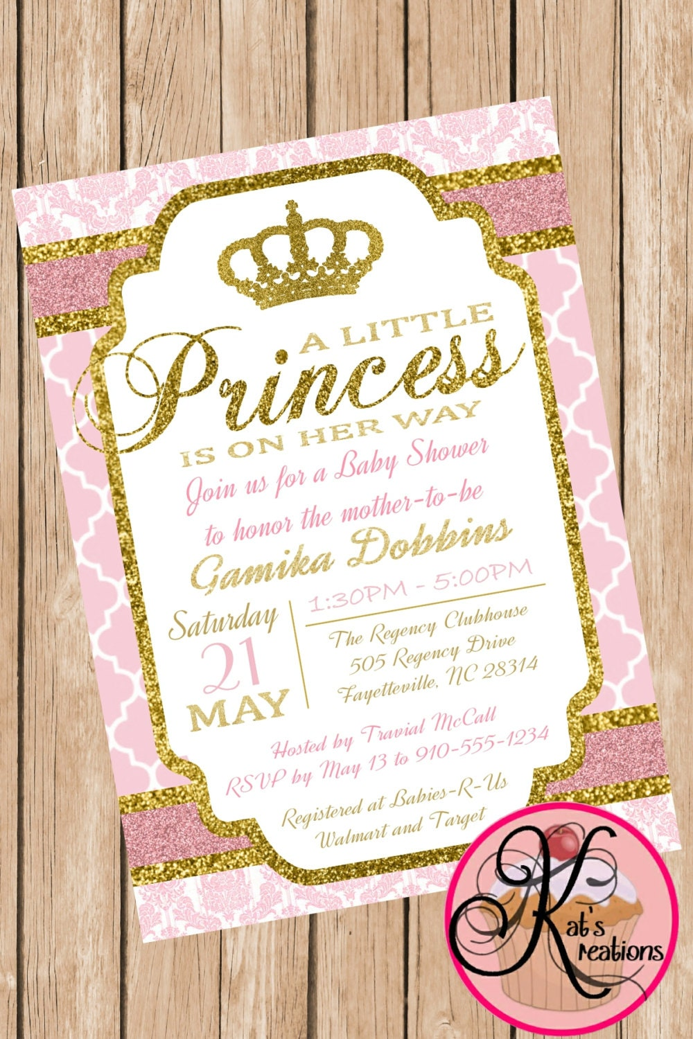 royalty princess baby shower printable invitation