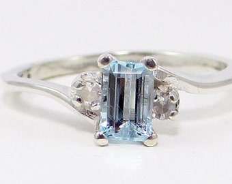 Aquamarine and White Sapphire Ring Sterling Silver