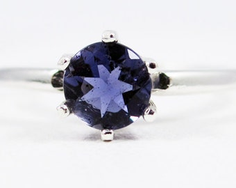 READY TO SHIP Size 6.5 - Iolite Ring Sterling Silver Solitaire