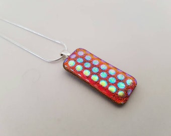 Red Spotted Dichroic Glass Pendant