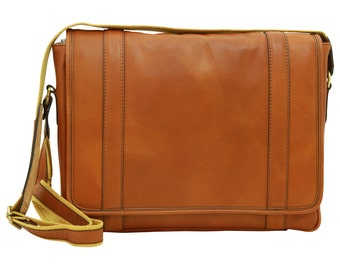 Soft Calfskin Leather Messenger Bag Old Angler (304)