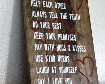 Custom Painted Family Rules Sign on Small Stained Wood Pallet