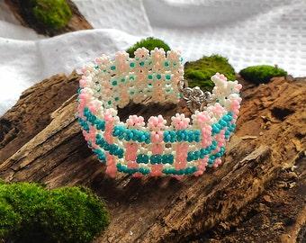 Beaded bracelet, summer 2016, costume jewelry, Bracelet from beads, for the girl