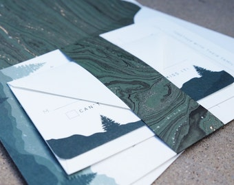 Rustic Woodland Country Wedding Invitation Suite—Printed Sample