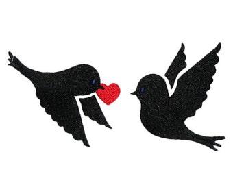 Love Birds Heart Embroidery Design