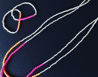 Neon hot pink necklace