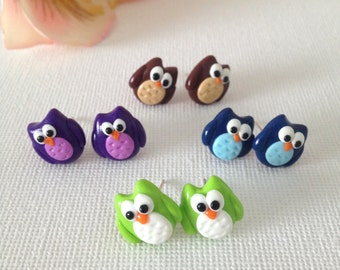 Owl Earrings - Colourful Polymer Clay Owl Stud Earrings , Animal Earrings , Bird Earrings , Owl Jewellery and Gifts, Clay Owl Charm