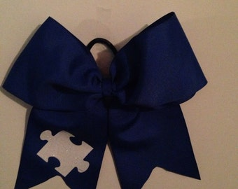 Puzzle piece cheer bow