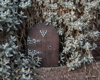"""BLING 6"""" MAGICAL Fairy Doorway - Aqua & Gold Rhinestones on Resin Door"""