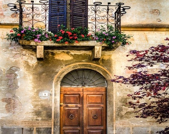 Tuscany Doors, Wooden Door,  Pienza Doors And Balcony, Italy Travel, Black Shutters, Red Flowers, Textured House, Wall Art