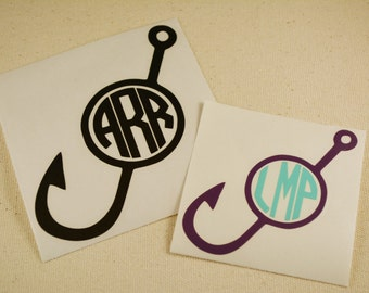 Fish Hook Monogram Decal, Monogram Decal, Fishing Decal, Yeti Decal, Car Decal, Truck Decal, Circle Monogram, Fish Monogram, Fish Decal