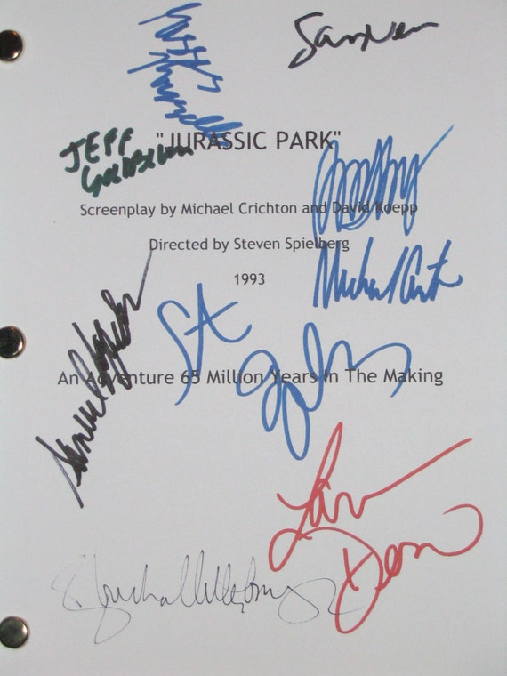 Jurassic Park Signed Autograph Movie Film Screenplay Script X9 Steven Spielberg Sam Neill Laura Dern Jeff Goldblum B D wong Samuel L Jackson