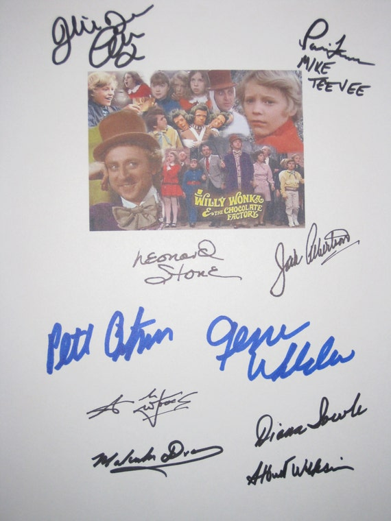 Willy Wonka & the Chocolate Factory Signed Screenplay Script X10 Autograph Gene Wilder Peter Ostrum Julie Dawn Cole Leonard Stone signature
