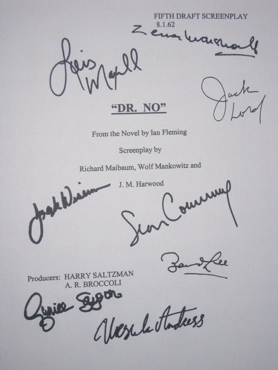 Dr. No Signed Film Movie Screenplay Script Autographs X8 James Bond 007 Sean Connery Ursula Andress Lois Maxwell Jack Lord Joseph Wiseman