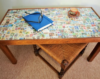 Coffee Table With Stamp Collage Table Top
