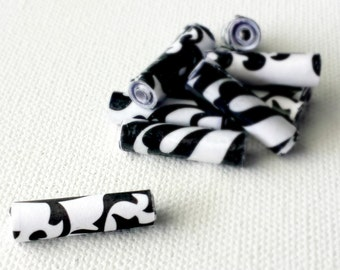 Black & White Paper Beads - Handmade Beads - Paper Bead Jewelry - Bead Supplies - Jewelry Supplies - Handmade Black Beads- Loose Paper Beads