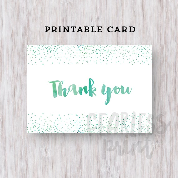 Thank You Card Printable | Printable Thank you Card | Watercolor Confetti Thank You Card | Digital Card | Thank You Note INSTANT DOWNLOAD