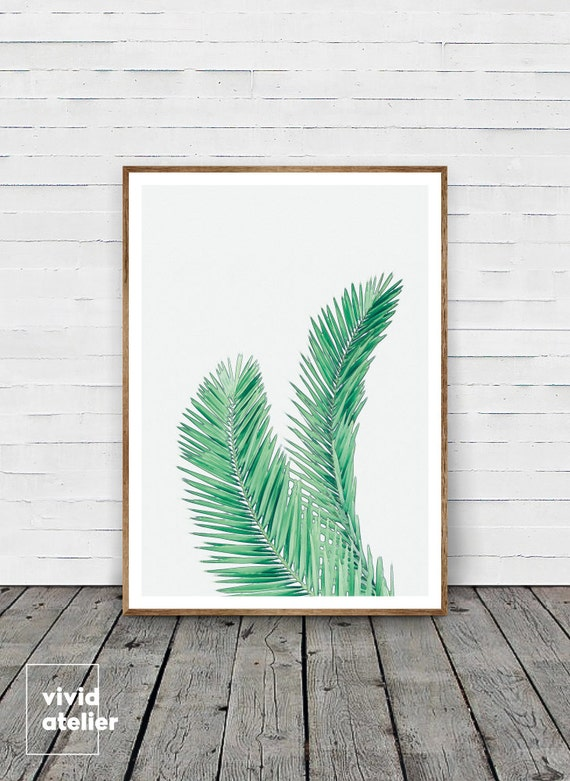 Woven Leaves Wall Decor : Palm leaf wall decor watercolor print leaves by