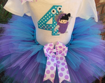 Monsters Inc Boo Birthday Tutu Outfit Dress Set Handmade Party 1st 2nd 3rd in Blue and Purple