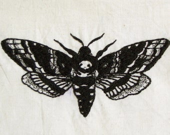 Hand Embroidered Death Head Moth