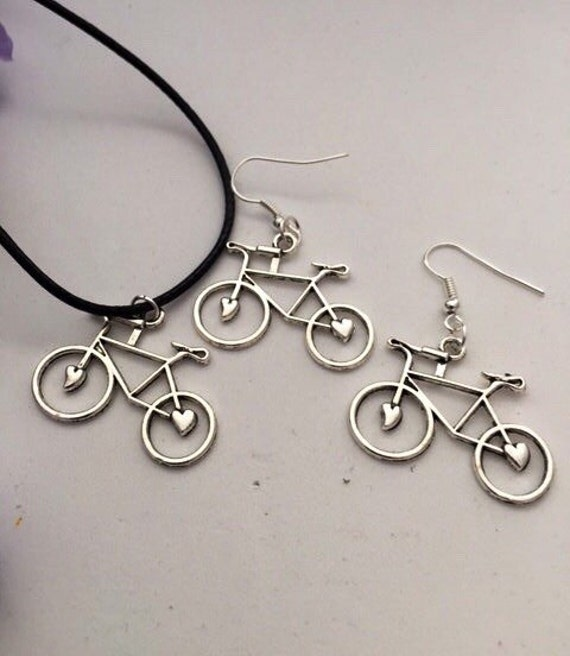 Bicycle Necklace Earrings Set, Silver Cycling Jewelry, Bicycle Charms, CrossFit Jewelry, Team Gifts, Sports Bike Jewelry, Gifts for Cyclists