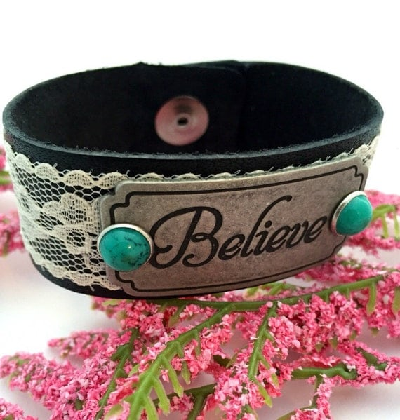 Leather Cuff Bracelets, Believe Charm Bracelet, Christian Jewelry, CrossFit Jewelry, Inspirational Word Charms, Gifts for Mom Daughter Aunt
