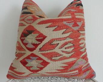 40x40cm pale red kilim pillow wool cushion pillow - 186a