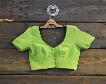 60's Olive Green Crop Top // Extra Small