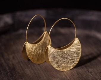 African golden earrings, golden dangle earrings, minimalist hoop earrings, african jewelry, big hoop earrings, Sterling silver hoops