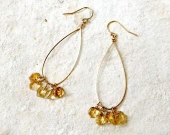 Citrine Teardrop Earrings, 14k gold-fill