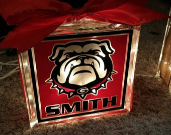 Personalized 8x8 Georgia Bulldogs lighted glass block