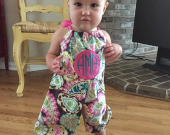 Long bubble Romper. Monogram fall romper/ jumpsuit. Big Bow in the back romper. Pillowcase romper