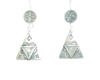 Long Silver earrings ethnic amazigh