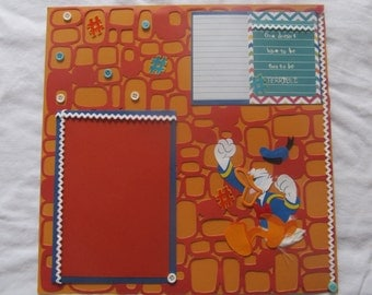 12 x12 premade Donald Duck temper tantrum scrapbook page/ colorful/ journaling/1 picture