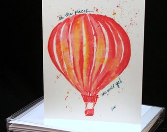 Set of Hot Air Balloon Original Watercolor PRINT- Greeting Cards/ Note Cards  (Set of four), Hot Air Balloon