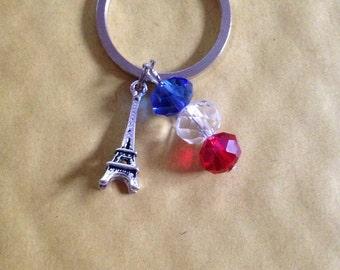 Blue, White, Red, Keychain, Eiffel Tower, Paris, Keyring,